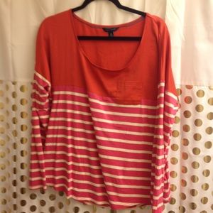Tommy Hilfiger Color Block Striped Blouse Silky XL